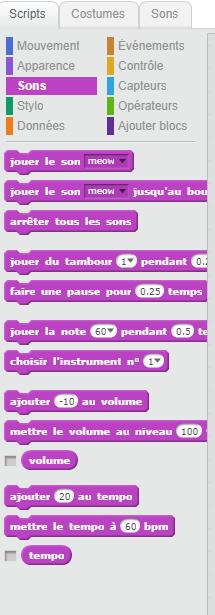 Les sons dans Scratch